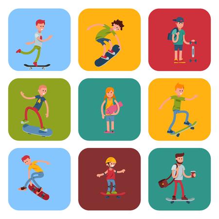 Young skateboarder active people sport extreme active skateboarding urban jumping tricks vector illustration. Ilustração