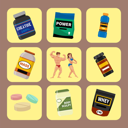 Bodybuilders gym athlete and sport food diet symbols fitness nutrition protein powder drink vector illustration.