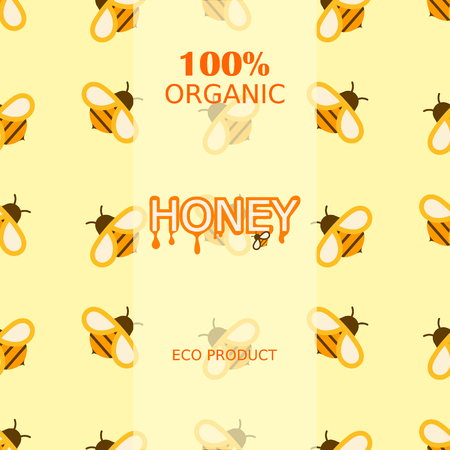 Honey bee healthy delicious natural seamless pattern background organic ingredient yellow sweet vector illustration. Golden liquid product pot dessert nutrition tasty sticky sugar.