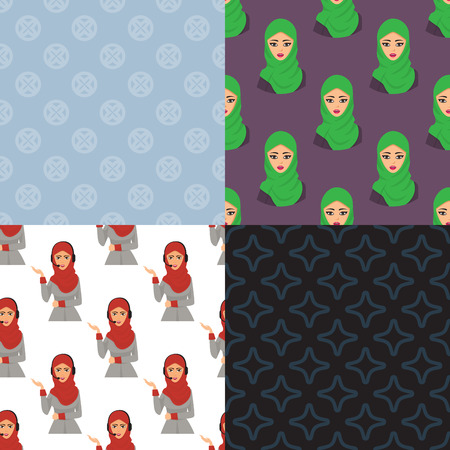 Arabic woman adult character Arabian Asia nationality islamic girl face seamless pattern background in hijab vector illustration