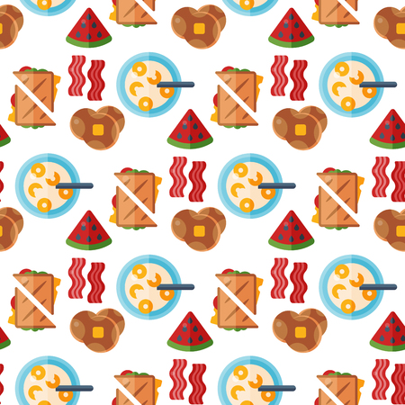 Breakfast healthy food meal icons seamless pattern background drinks flat design bread egg lunch healthy meat menu restaurant vector illustration.