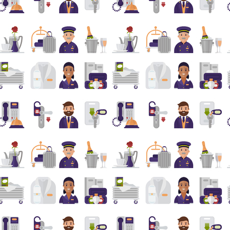 Hotel workers personal professional service man and woman job uniform objects hostel manager vector illustration. Banque d'images - 104717622
