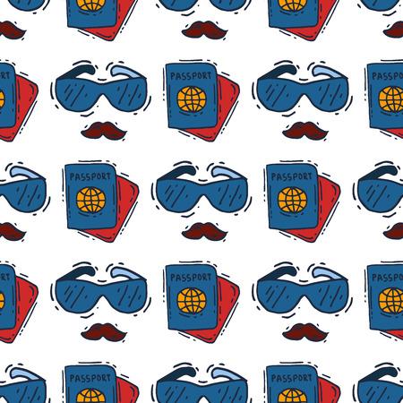 Spy icons vector cartoon detective set mafia agent binoculars or spyglass for spying or secret investigation illustration isolated on white background Stock Illustration - 104717623