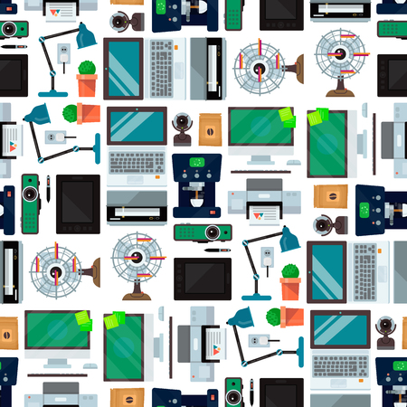 Computer office equipment technic gadgets seamless pattern background communication device laptop monitor printer keyboard camera vector illustration.