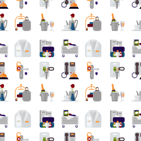 Hotel personal professional service objects executive help hostel tools seamless pattern background vector illustration. Banque d'images - 104717628
