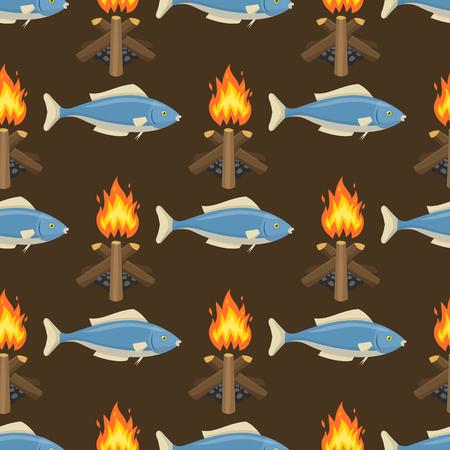 Fire bonfire seamless pattern vector burn flame illustration fish spurts of flame red orange background wallpaper hot light backdrop. Stock Photo