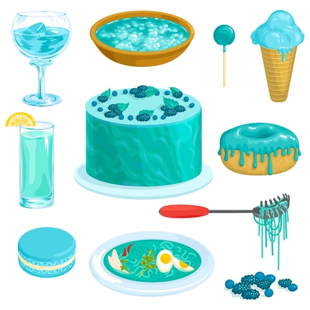Turquoise vector blue cacke or sweet dessert with blueberry and blur aqua drink illustration greenish-blue set of emerald doughnut and cobalt-blue icecream isolated on white background.