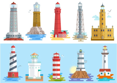 Lighthouse vector beacon lighter beaming path of lighting to ses from seaside coast illustration set of lighthouses isolated on white background. Ilustração