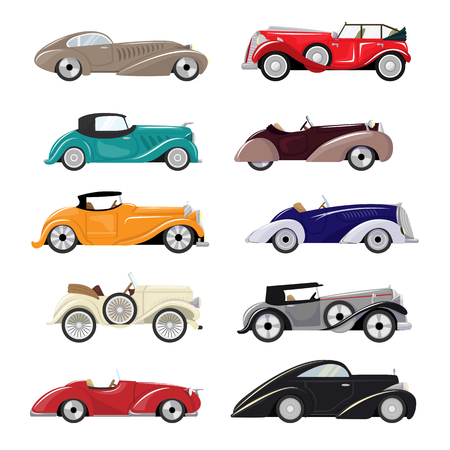 Art deco car vector retro luxury auto transport and art-deco modern automobile illustration set of old automotive vehicle isolated citycar on white background illustration.