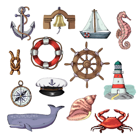 Sea vector marine or nautical symbols lighthouse and ship or sailboat with anchor on rope illustration set of maritime boat lifebuoy isolated on white background.