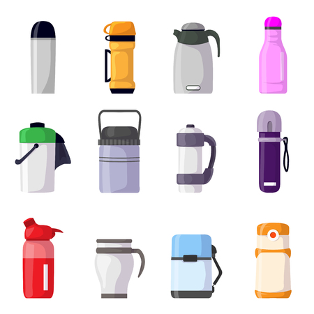 vector vacuum flask or bottle with hot drink coffee or tea illustration set of metal container or aluminum mug or  isolated on white background. 矢量图像