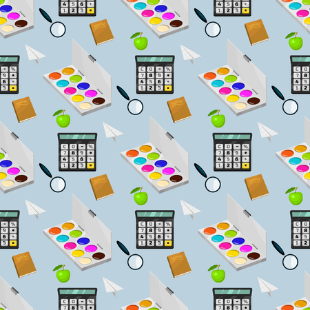 School supplies stationery educational seamless pattern background equipment learning office accessories vector illustration. Many materials student supply.
