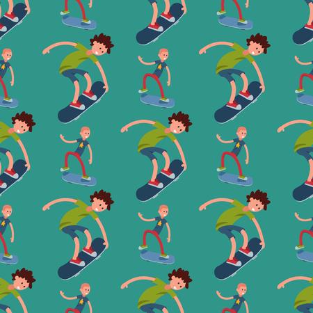 Skateboarder active people sport seamless pattern background extreme active skateboarding urban jumping tricks vector illustration.. Freestyle boarding skatepark