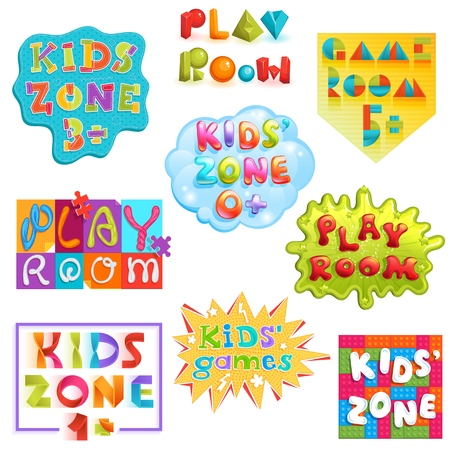 Game room vector kids playroom banner in cartoon style for children play zone decoration illustration set of childish lettering label for kindergarten decor isolated on white background Иллюстрация
