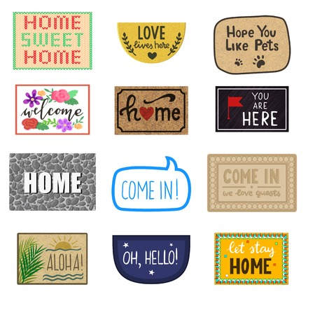 Home mat vector welcome doormat of front house entrance and doorway matting rug for visitors illustration household set of homecoming enter decoration isolated on white background. Illustration