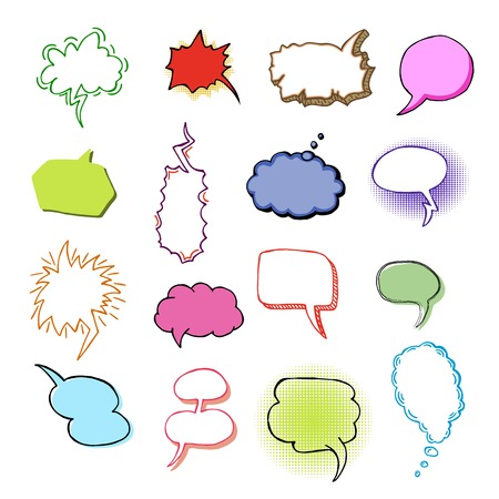 Bubbles vector blank speech bubbling messages for communication or dialog set of cartoon bubbly chat balloon think or talk isolated on white background illustration. Çizim