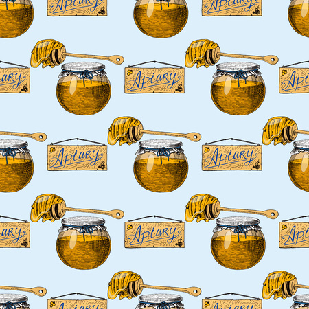 Apiary bee vector hand drawn vintage honey making farmer beekeeper illustration. Bee honey bee house natural healthy food production seamless pattern background.