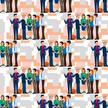 Business people vector groups presentation to investors conferense room teamwork meeting characters interview illustration seamless pattern background. Work professional communication employee worker. Stock Illustratie