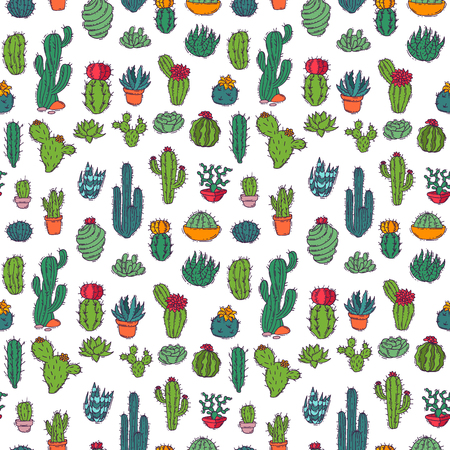 Cactus home nature vector illustration of green plant cactaceous tree with flower seamless pattern background. Cute cartoon cactus nature cactaceous vector illustration.  イラスト・ベクター素材