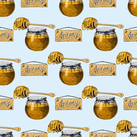 Abeille rucher vecteur dessinés à la main miel vintage faisant l'illustration de l'apiculteur agriculteur. Abeille miel abeille maison production d'aliments sains naturels sans soudure de fond.