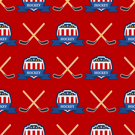 Sport game vector hockey team play tournament label champion emblem league competition seamless pattern background athletic championship club professional tournament label illustration. Stock Photo