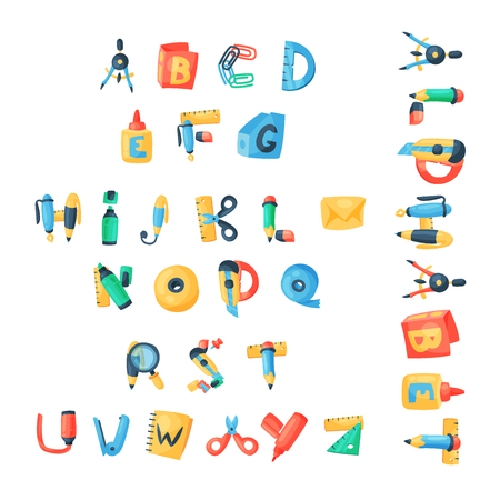 Alphabet stationery letters vector abc font alphabetic icons of office supply and school tools accessories for education pencil or pen alphabetically isolated on background illustration.