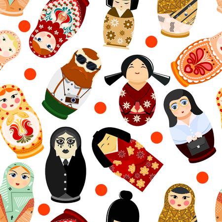 Doll matryoshka vector matrioshka russian toy traditional symbol of Russia national matreshka of different nationalities tourist Japanese arab illustration seamless pattern background Stock Photo