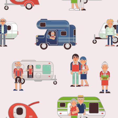 Senior travel vector elderly family couple travelling on camping trailer and retired character on a vacation motor caravan illustration set of grandparents on a car seamless pattern background