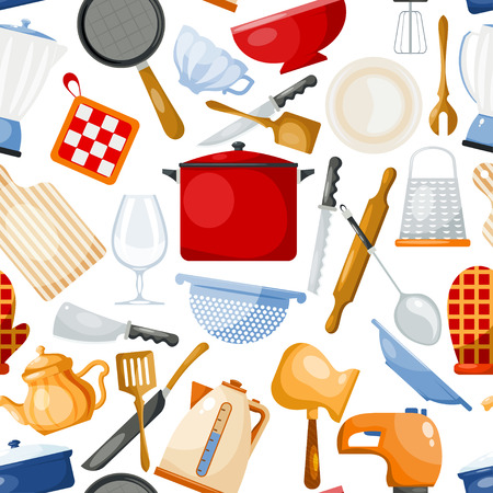 Kitchenware vector cookware for cooking and kitchen utensils or cutlery for kitchener illustration tableware in kitchenette set seamless pattern background Stock Photo