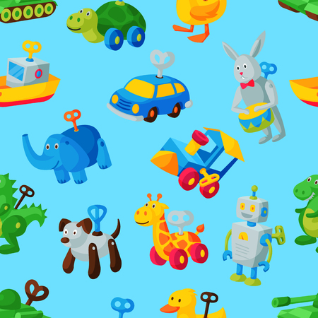 Clockwork toy key vector mechanic playroom toyshop mechanism for kids animal clock work car, train, robot illustration seamless pattern background Stock Photo