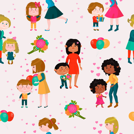 Valentines day vector loving family mothers day mom and kids valentine lovely heart girl or boy kissing and hugging child with gift flowers and balloons illustration seamless pattern background