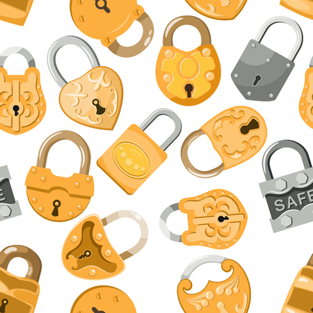 Padlock vector lock for safety and security protection with locked secure mechanism to interlock or lockout locking system illustration set seamless pattern background