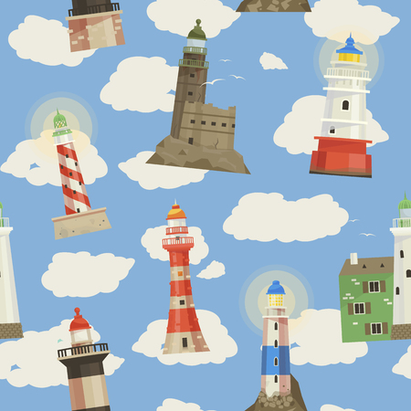 Lighthouse vector beacon lighter beaming path of lighting to ses from seaside coast illustration set of lighthouses seamless pattern background