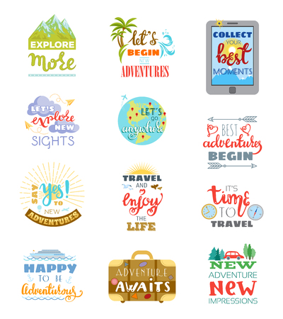 Traveling lettering vector adventure sign and journey typographic print illustration set of trip inspirations to travel isolated on white background. Иллюстрация
