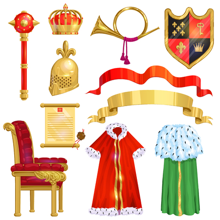 Royalty vector golden royal crown symbol of king queen and princess illustration sign of crowning prince authority set of crown jeweles and throne isolated on white background Foto de archivo - 105677622