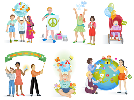 People in peace vector world kids on planet earth and worldwide earthly friendship illustration peaceful set of boys or girls together isolated on white background.