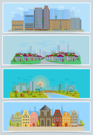 Cityscape vector urban city landscape with buildings and houses in the street of town downcity set illustration Illustration