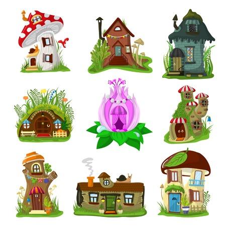 Fantasie huis vector cartoon fairy boomhut en magische huisvesting dorp illustratie set kinderen sprookjesachtige speelhuisje voor gnome of elf geïsoleerd op witte achtergrond Vector Illustratie