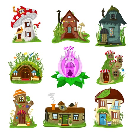 Fantasy house vector cartoon fairy treehouse and magic housing village illustration set of kids fairytale playhouse for gnome or elf isolated on white background Ilustracja