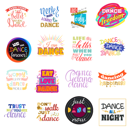 Dance lettering vector dancing sign and dancer typographic print illustration set of inspirations for dance-hall isolated on white background. Иллюстрация