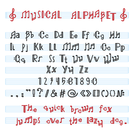 Alphabet ABC vector musical alphabetical font with music note letters of alphabetic typography illustration alphabetically melody typeset isolated on white background.