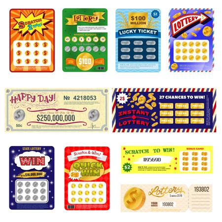 Biglietto della lotteria vettore fortunato bingo card vincere possibilità lotto gioco jackpot imposta illustrazione biglietti di gioco della lotteria isolati su sfondo bianco Vettoriali