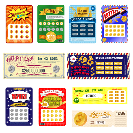 Lottery ticket vector lucky bingo card win chance lotto game jackpot set illustration lottery gaming tickets isolated on white background 向量圖像