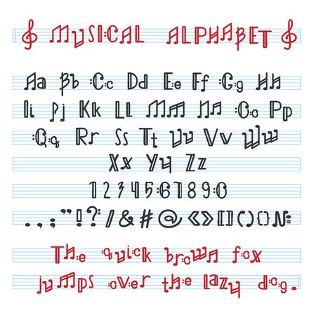 Alphabet ABC-Vektormusikalische alphabetische Schriftart mit Musikanmerkungsbuchstaben der alphabetischen Typografieillustration alphabetisch Melodiesatz lokalisiert auf weißem Hintergrund. Vektorgrafik