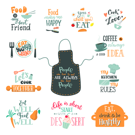 Cook sign vector cooking or coffee lettering and cookery or baking typography template to print illustration set of text with kitchenware isolated on white background Vettoriali