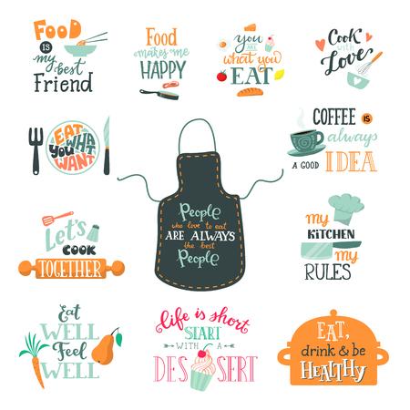 Gotować znak wektor gotowanie lub kawa napis i gotowanie lub pieczenie szablon typografii, aby wydrukować zestaw ilustracji tekstu z naczyniami kuchennymi na białym tle Ilustracje wektorowe