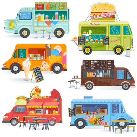 Food truck vector street food-truck vehicle and fastfood delivery transport with hotdog or pizza illustration set of drinks or ice cream in foodtruck isolated on white background.