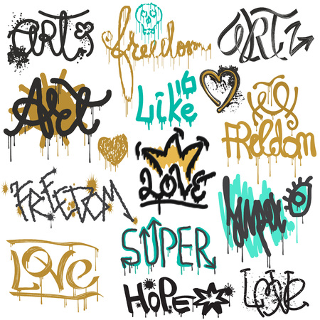 Graffity vector street art graffiti grunge font by spray or brush stroke on wall illustration urban set of love freedom text lettering isolated on white background.