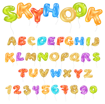 Alphabet ABC vector balloon kids alphabetical font with helium color letters and numbers for birthday party illustration of cartoon alphabetic set isolated on white background. Vector Illustration