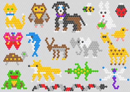 Mosaic animal vector animalistic abstract character cat dog and dolphin in kids game illustration childish set of toys owl or butterfly isolated on background. Иллюстрация